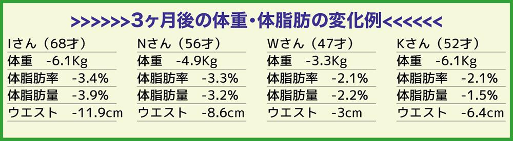 3ヶ月後の体重・体脂肪の変化例
